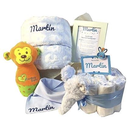 MabyBox My Pet | Canastilla Bebé Regalo | Regalo bebé | Cesta de Recién nacido Personalizada (Azul)