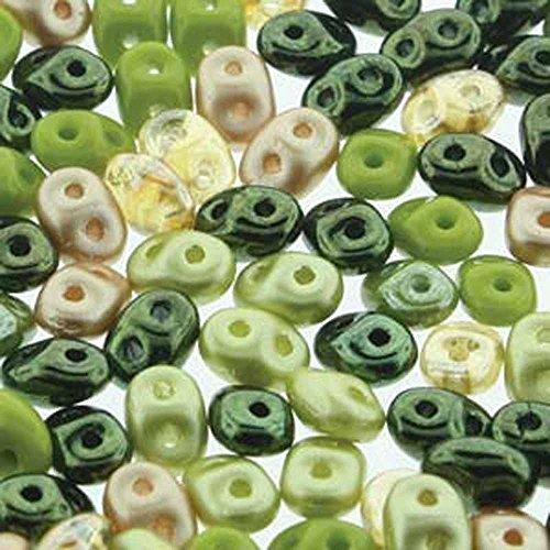 SuperDuo Rainforest Mix 2.5x5mm 2 Hole Beads Czech Glass Seed Beads 100 Gram Bag