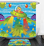 Nalahome Bath Suit: Showercurtain Bathrug Bathtowel Handtowel Outer Space Decor For Kids Scary Monster in Ufo on Planet Solar System Galaxy Funky Back Green Blue