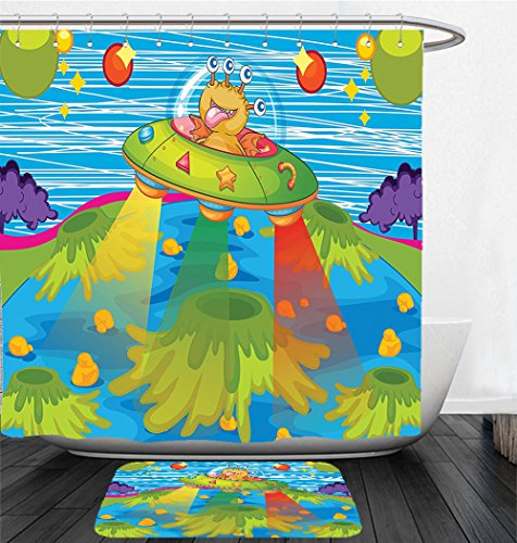 Nalahome Bath Suit: Showercurtain Bathrug Bathtowel Handtowel Outer Space Decor For Kids Scary Monster in Ufo on Planet Solar System Galaxy Funky Back Green Blue by Nalahome