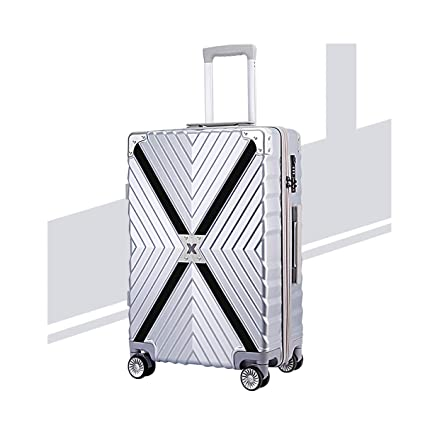 Color : White, Size : 20 Bahaowenjuguan Travel Bag Hard Trolley case Travel Organizer Student Password Box Simple and Silver 20//24 inch