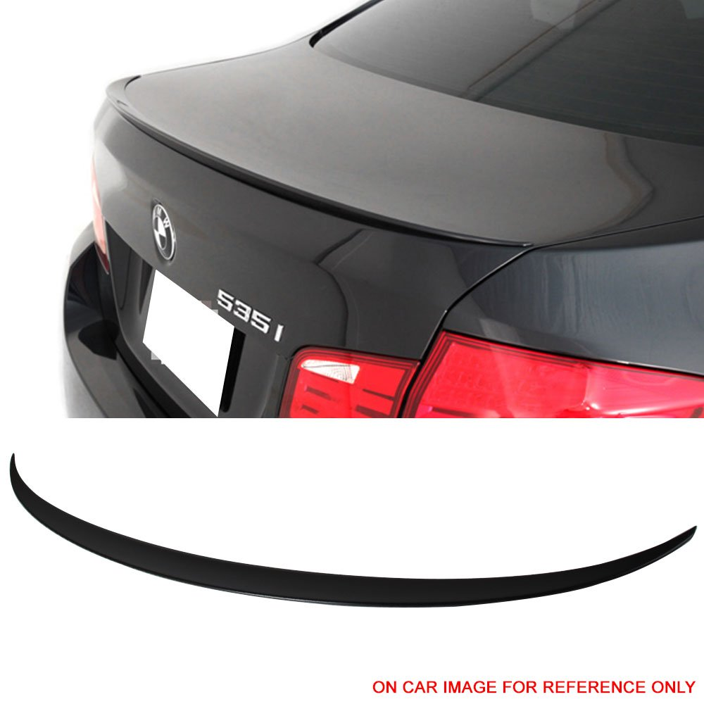 Trunk Spoiler Fits 2011-2016 BMW 5-Series F10 | M5 Style Unpainted Raw Material Black ABS Rear Tail Lip Deck Boot Wing by IKON MOTORSPORTS | 2012 2013 2014 2015