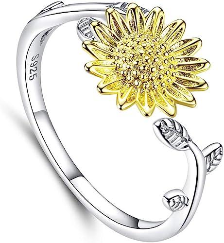 Fashion Jewelry Gold Plated Daisy Flower Crystal Rhinestone Ring Gift Adjustable