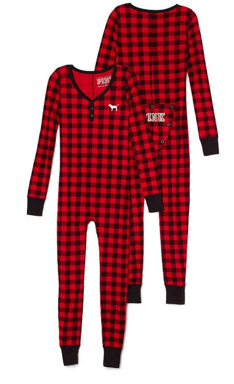 Victoria's Secret Pink Onesie Pajamas X-Small Black Red Plaid