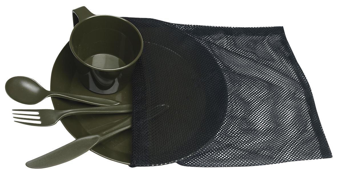 Mil-Tec - Lote de acampada (plato, taza, cubiertos), color verde