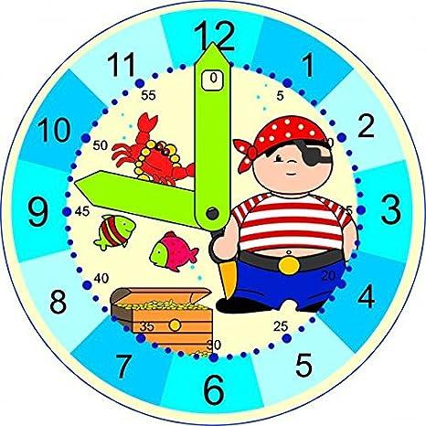 HESS 14660- Reloj Infantil Para Aprender La Hora- Diseño Pirata: Amazon.es: Juguetes y juegos
