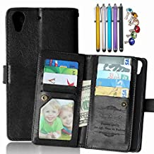 LEMORRY HTC Desire 626 / 626s Wallet Case, 2in1 TPU Cover + Flip Premium PU Leather Magnetic Bumper Protective Pouch Black
