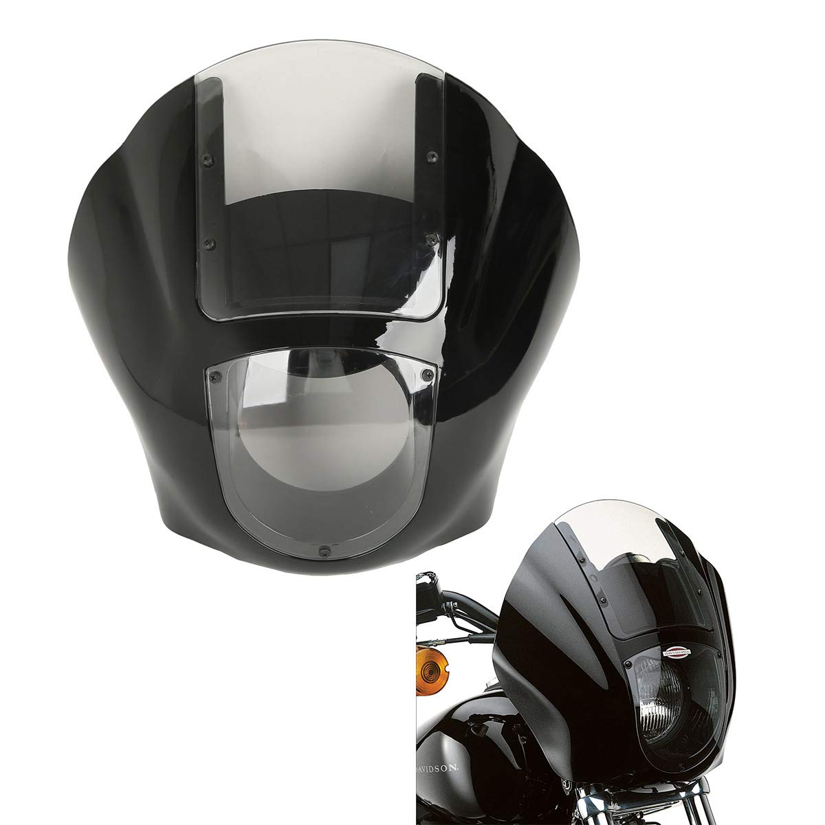 XFMT Detachable Quarter Fairing Kit & Smoke Windshield For Harley Sportster 1988-2016 Dyna 1995-2005(Requires the installation of Docking Hardware Kit P/N 58164-96A.)