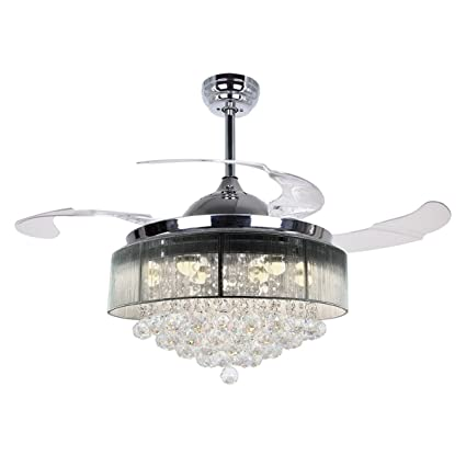 Parrot Uncle Ceiling Fans With Lights 42quot Modern LED Fan Retractable Blades Crystal Chandelier