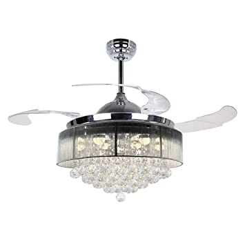 Parrot uncle ceiling fans with lights 42 modern led ceiling fan parrot uncle ceiling fans with lights 42quot modern led ceiling fan retractable blades crystal chandelier publicscrutiny Image collections