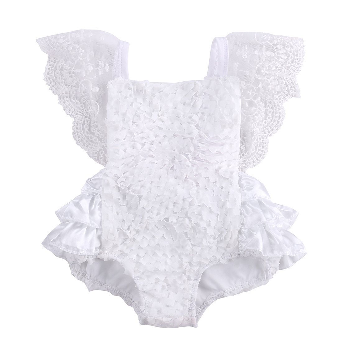 XiaoReddou Baby Infant Girl Pure White Pretty Lace Floral Princess Party Dress Romper (White, 12-18 Months)
