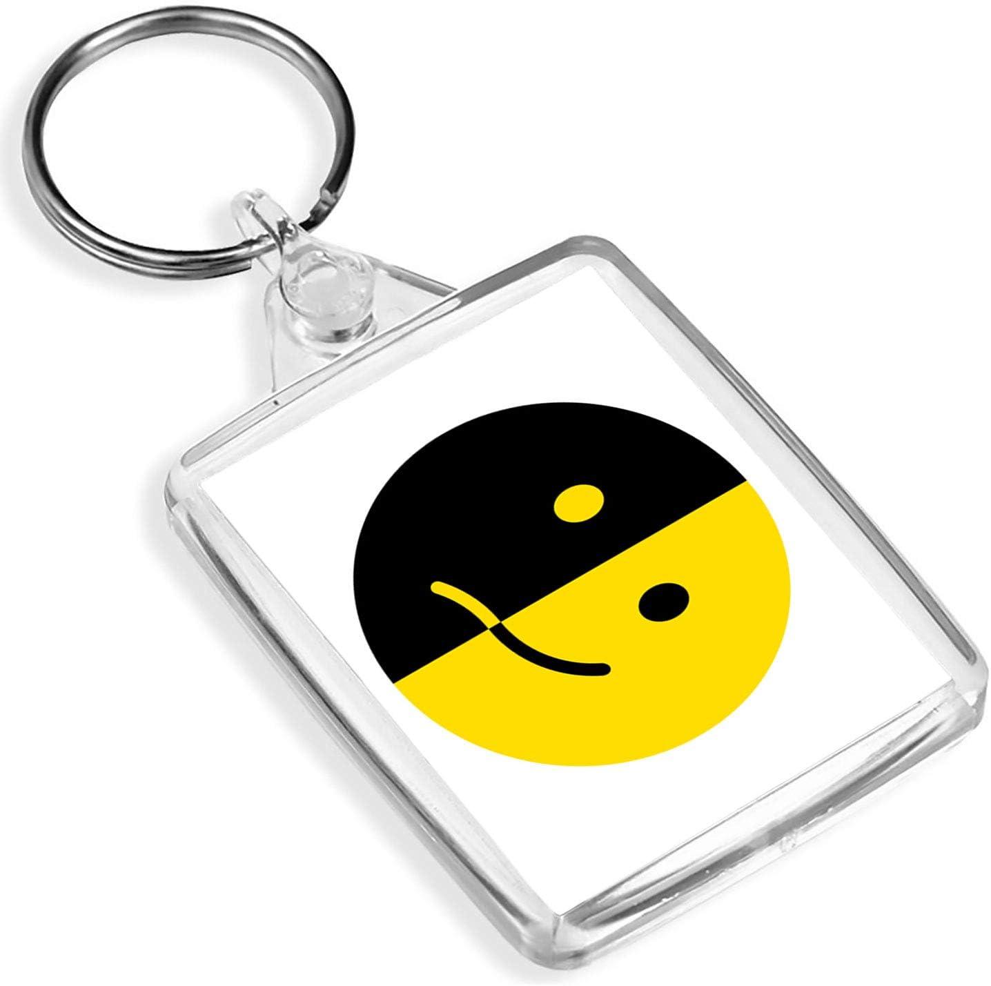 Llaveros de vinilo de destino 1 x amarillo negro sonrisa cara bipolar – Keying – IP02 – Regalo para mamá papá niños # 9229