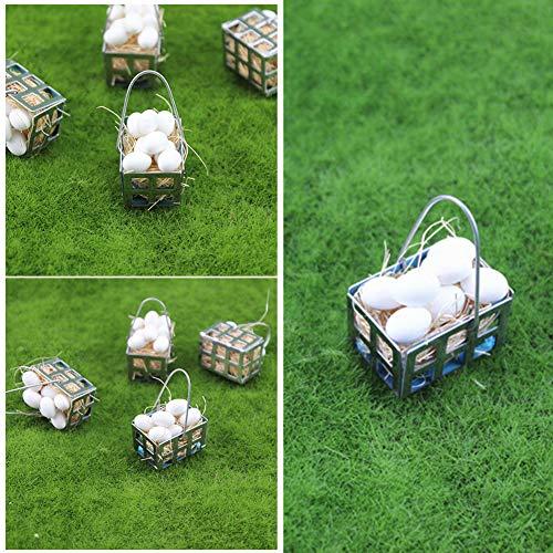 qsbai® 1:6 1:12 Dollhouse Cocina Realista Comida Miniatura Huevos Blancos con Cesta de Metal