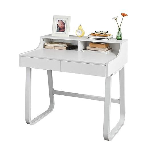 SoBuy® Mesa de Escritorio, Mesa de Ordenador con 2 cajones y 2 ...