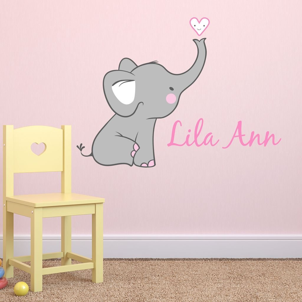 Girls Nursery Elephant Custom Personalized Name Wall Decal Large, Nursery Elephant Wall Decals, Girls Wall Decals Elephants, Nursery Decals, Nursery Wall Decals PLUS FREE HELLO DOOR DECAL by Decor Designs Decals