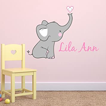Amazoncom Girls Nursery Elephant Custom Personalized Name Wall - Wall decals in nursery