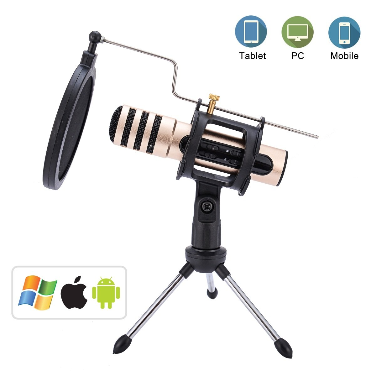 RongSa Professional Condenser Microphone PC Computer Kit With Stand Built-in Sound Card Echo Recording Karaoke Singing for Studio Recording Podcasting Broadcasting,Online Chatting