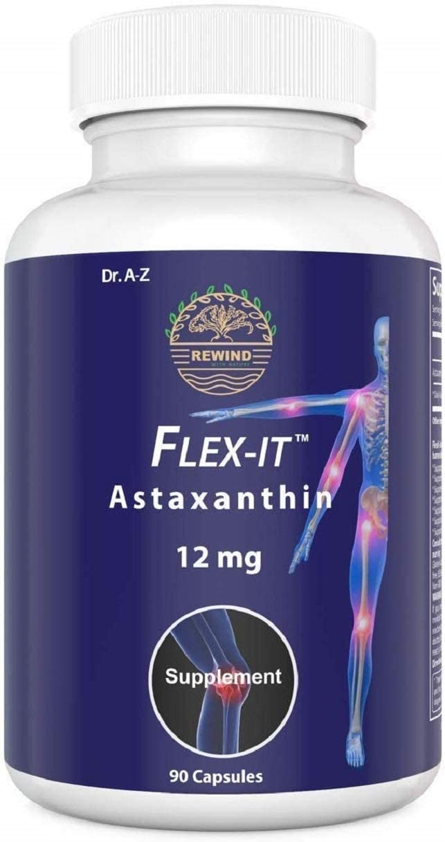 Astaxanthin Flexit Nature's Pure 12mg Triple Strength High Potency, Natural Joint Supplement for Men , Women , Skin, Eye Immune Health ,Haematococcus Pluvialis Extract, Gluten-Free 90 Days (DR A-Z)