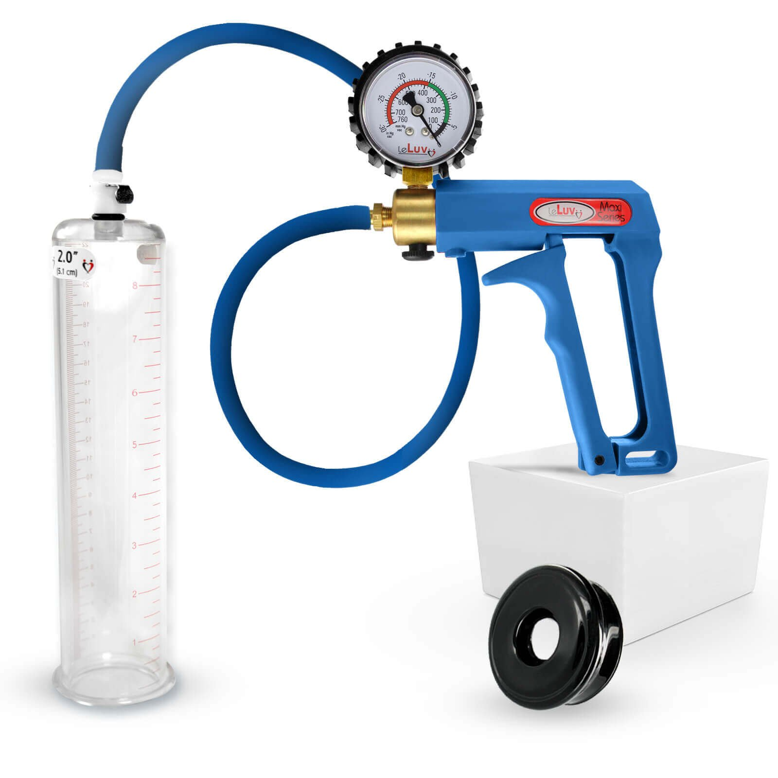 LeLuv Maxi Blue Plus Rubberized Vacuum Gauge Penis Pump Bundle with Premium Silicone Hose and Black TPR Seal 9 inch x 2 inch Cylinder