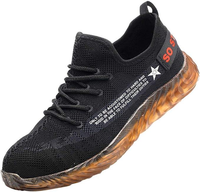 Zapatos de Seguridad para Hombre Trabajo Zapatos con Puntera de Acero Zapatillas Suela Blanda Sneakers Running Transpirable Antideslizante Aislamiento S3 Negro Yvelands: Amazon.es: Ropa y accesorios