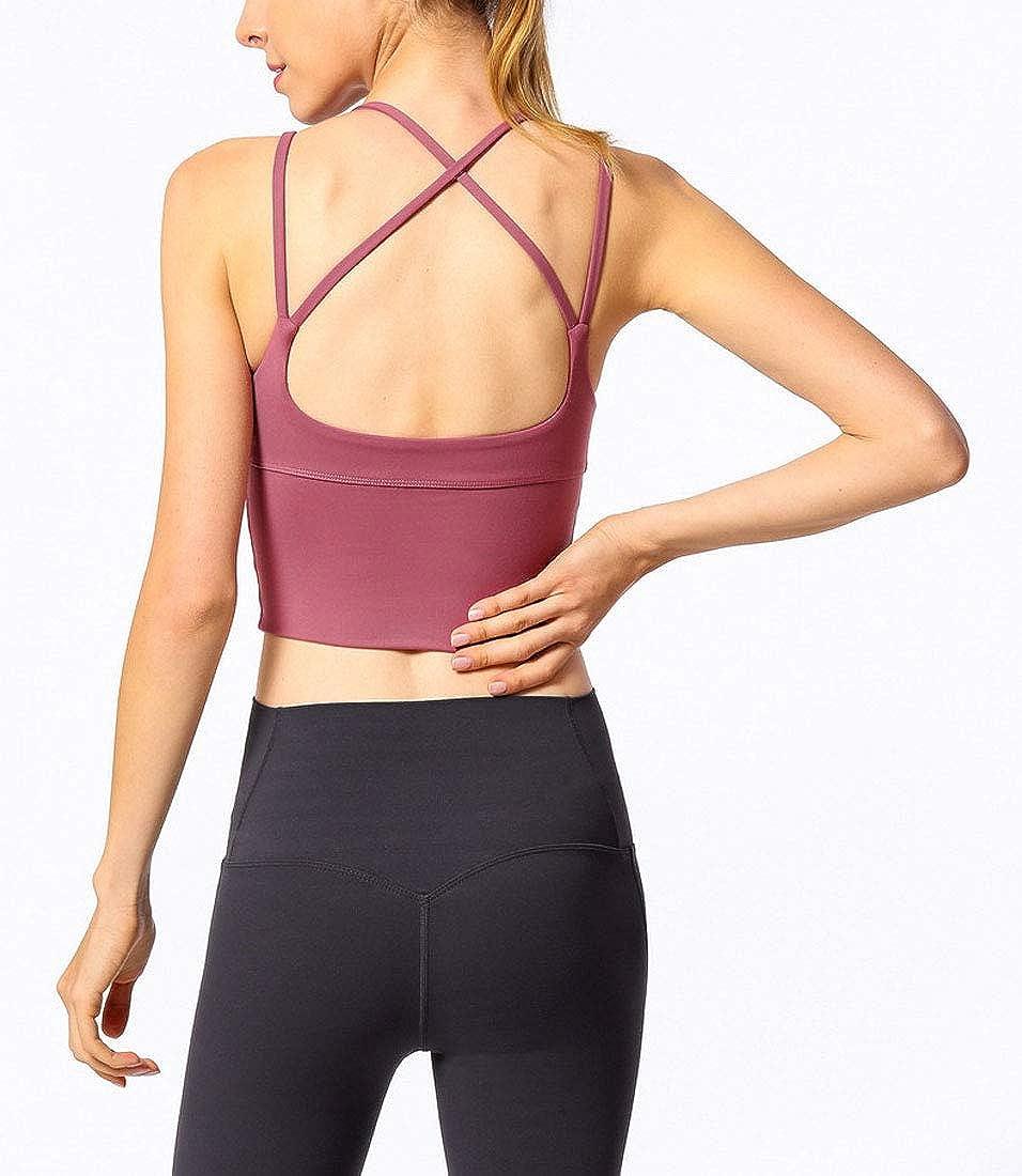 GEMLON Women Beauty Back Sport Bra Medium Support Activewear Tank Tops Running Fitness Vest Sport Underwear