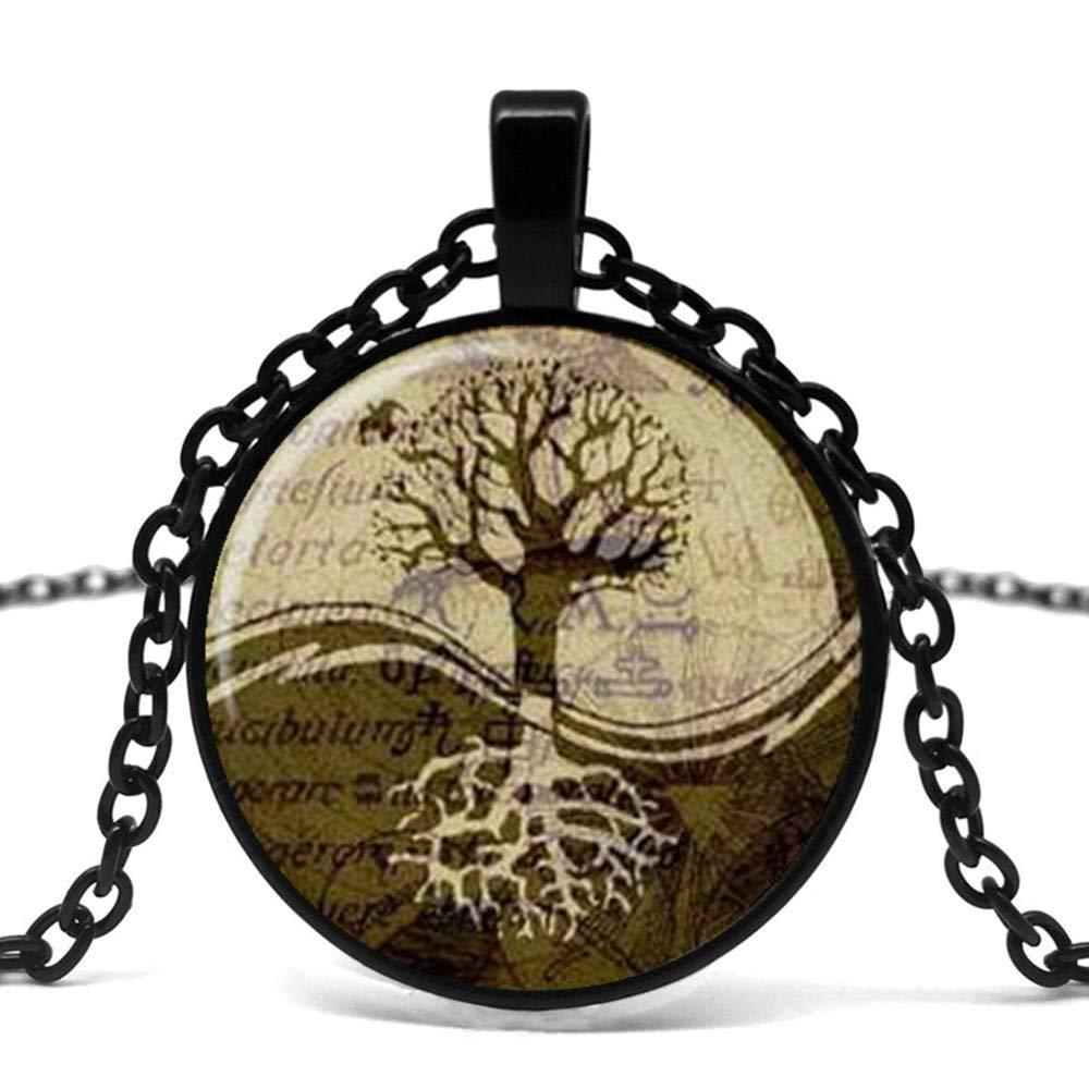 Mens necklace Yin Yang Pendant Tree Of Life Necklace Logo Magic Sign Glass Pendant Necklace.