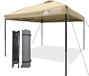 Leader Accessories Pop Up Canopy Tent 10'x10' Canopy Instant Canopy Straight Leg Shelter with Wheeled Carry Bag, Beige