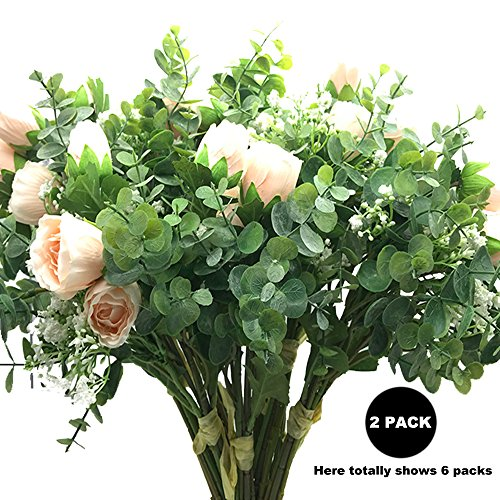 """Aisamco 2 Pcs Artificial Bouquet Assorted Flowers Fake Rose Baby's Breath Eucalyptus Branches 13.8"""" Tall Table Home Office Decor Wedding Floral Arrangement Bridesmaid Bridal Bouquet"""