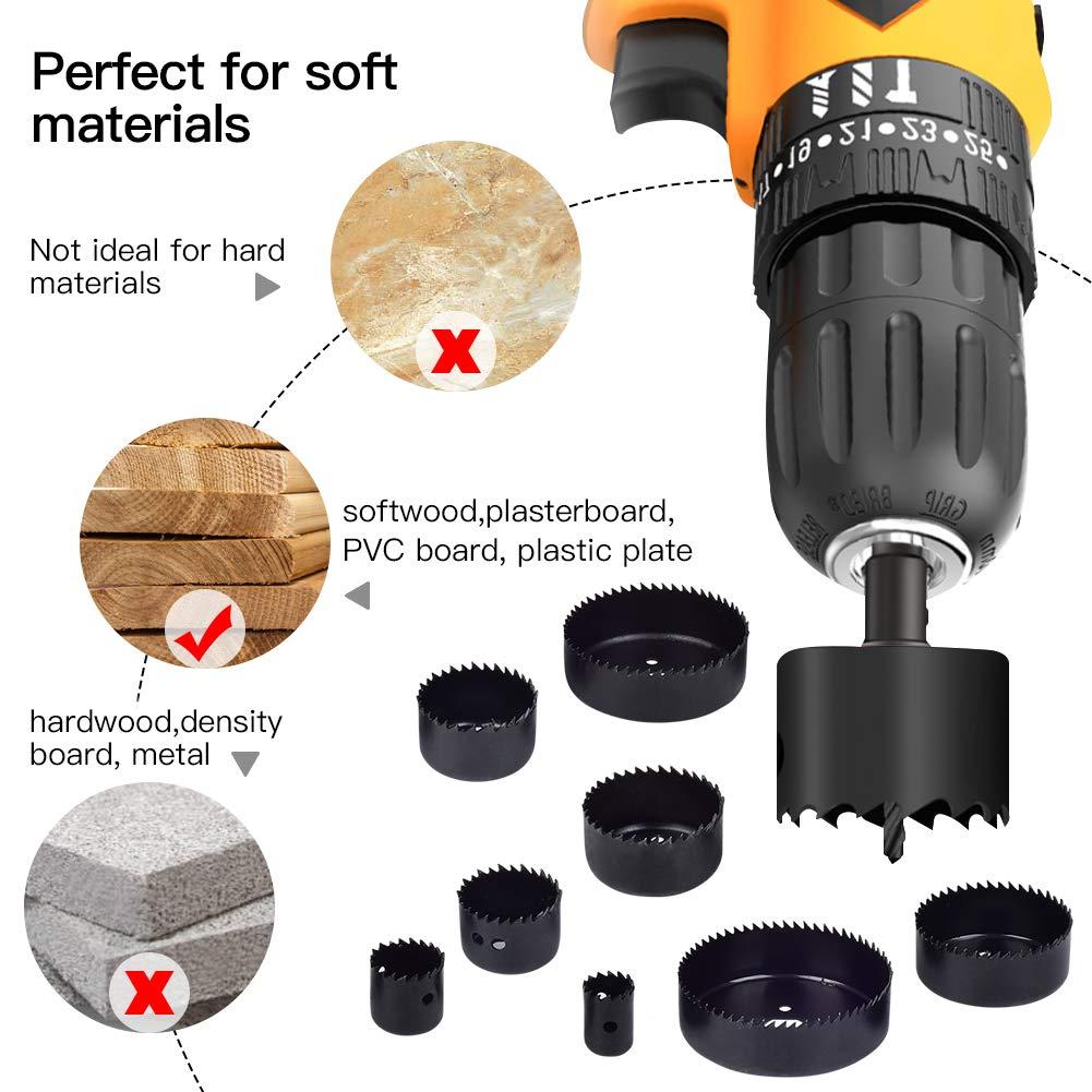 etc. 2 brocas para taladrar madera blanda 3 mandriles placa de PVC y placa de pl/ástico Juego de sierra para agujeros de 18 piezas con hojas de sierra de 9 piezas
