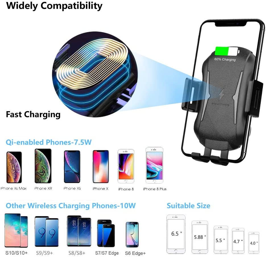 E NET-CASE Automatic Clamping Wireless Car Charger Phone Holder 10W//7.5W Qi Fast Charging Car Phone Mount,Windshield Dashboard Air Vent Compatible with iPhone X//8//PLUS//XR//XS//MAX /& Samsung Galaxy