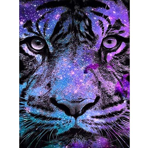 5D Diamond Painting Full Drill, 40x30cm Fantasy Tiger DIY Diamond Painting by Number Kits, Animal Rhinestone Crystal Drawing Gift for Adults Kids, 16