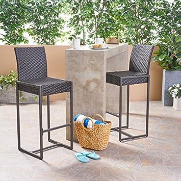 Great Deal Furniture 305137 Kelly Outdoor Wicker 30 Inch Barstool Set of 2 , Dark Brown
