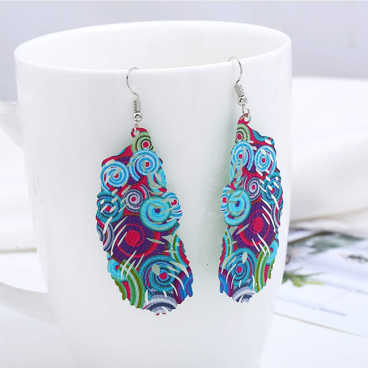 Helloriver Fashion Color Earrings Vintage Earrings Feather Stud Earrings