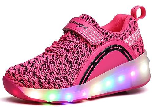 Zapatillas de Ruedas con Luces,Los Zapatos con Ruedas LED para Patines de Ruedas iluminan