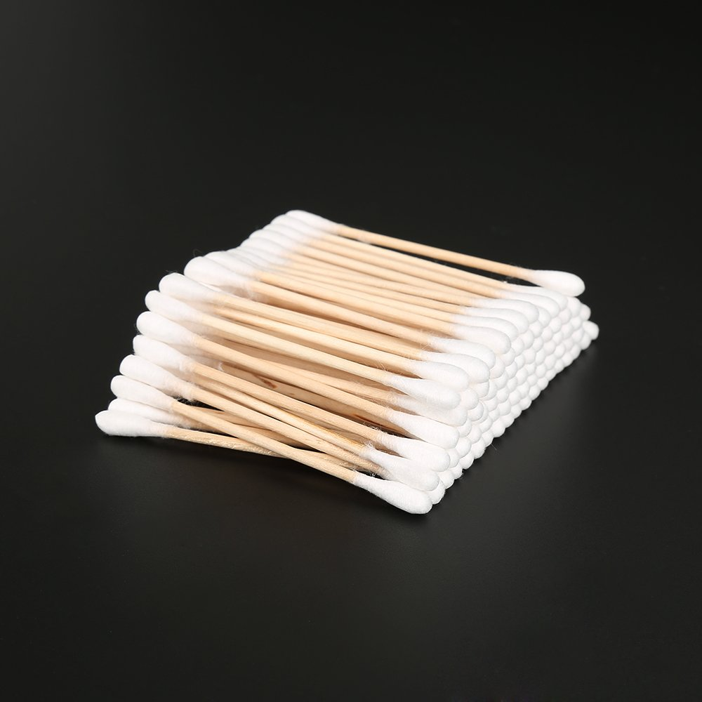 100% Cotton Swabs with Wooden Handles Cotton Tipped Applicator Double Tipped Highly Absorbent Hygienic Makeup Cotton Swabs