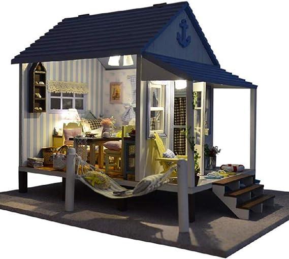 XIONGDA Rompecabezas 3D casa de muñecas Decorada con Luces LED y ...