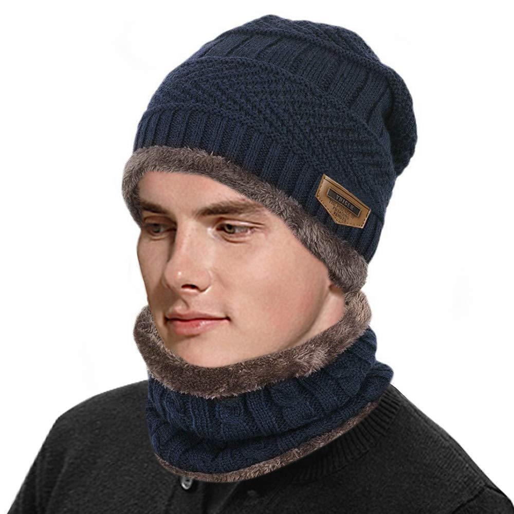d42be4a0428981 HZQDLN Warme Strickmütze und Kreis Schal für Männer Frauen Unisex beanie  Winter stretchy Knit mützen Skull