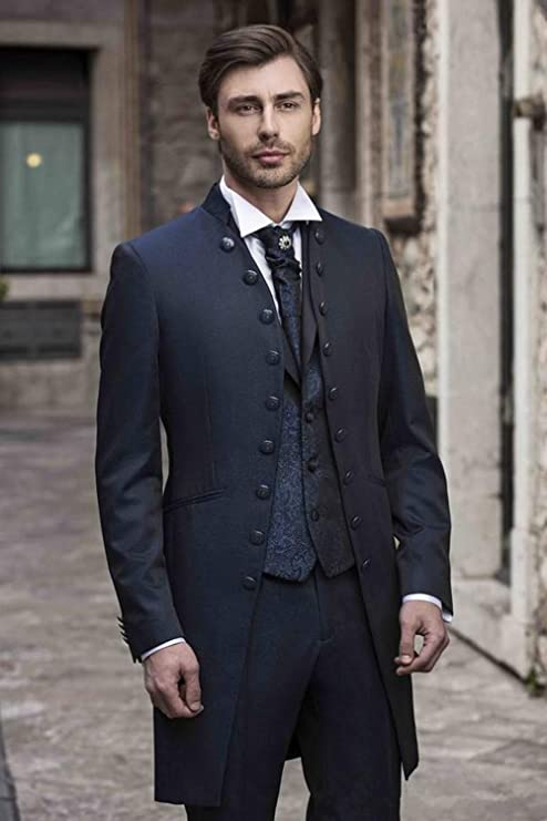 Amazon.com: Traje de hombre Slim Fit 3 piezas abrigo Tuxedo ...