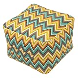 20 X 20 Weather and Fade-Resistant Square Outdoor Pouf with Handle - Terrace Zig Zag