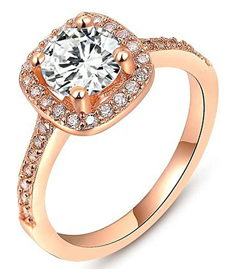 Amazon Alimab Jewelry Rings 18k Platinum Plated Womens Wedding Bands Rounded Square Cubic Zirconia Rose Gold: Rounded Square Wedding Band At Reisefeber.org