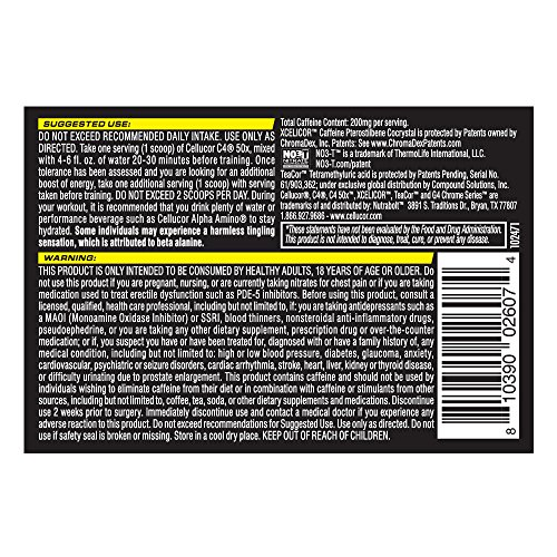 Cellucor C4 50X High Energy Pre Workout Supplement, Icy Blue Razz, 30 Count,9.52 ounce