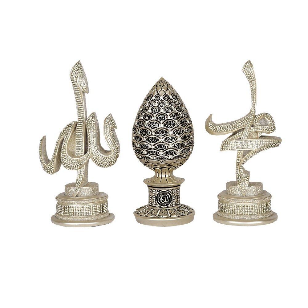 Allah and Muhammad name and Asma ul Husna 99 names of Allah Islamic Gift Table Decor 3 Piece Set Sculptures Arabic