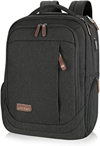 KROSER Laptop Backpack Large Computer Backpack Fits up to 15.6 Inch Laptop with USB Charging Port Water-Repellent School Travel Backpack Casual Daypack for Business/College/Women/Men-Charcoal Black
