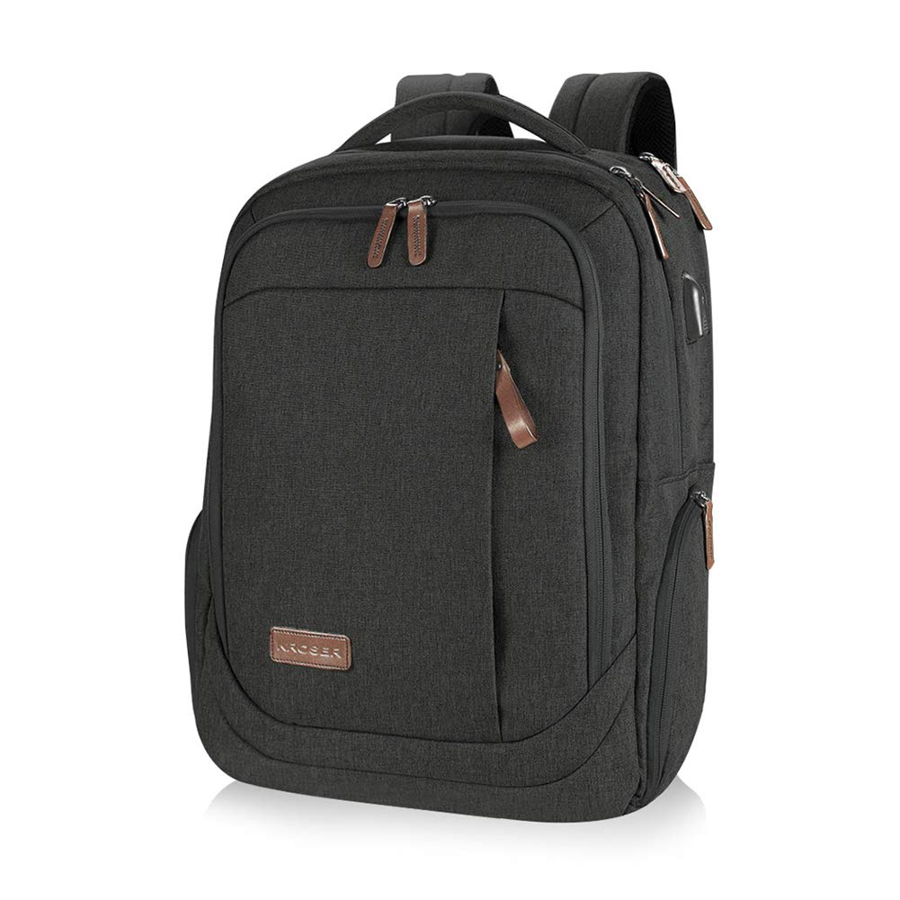 KROSER Laptop Backpack Large Computer Backpack Fits up to 15.6 Inch Laptop with USB Charging Port Water-Repellent School Travel Backpack Casual Daypack for Business/College/Women/Men-Charcoal Black by KROSER