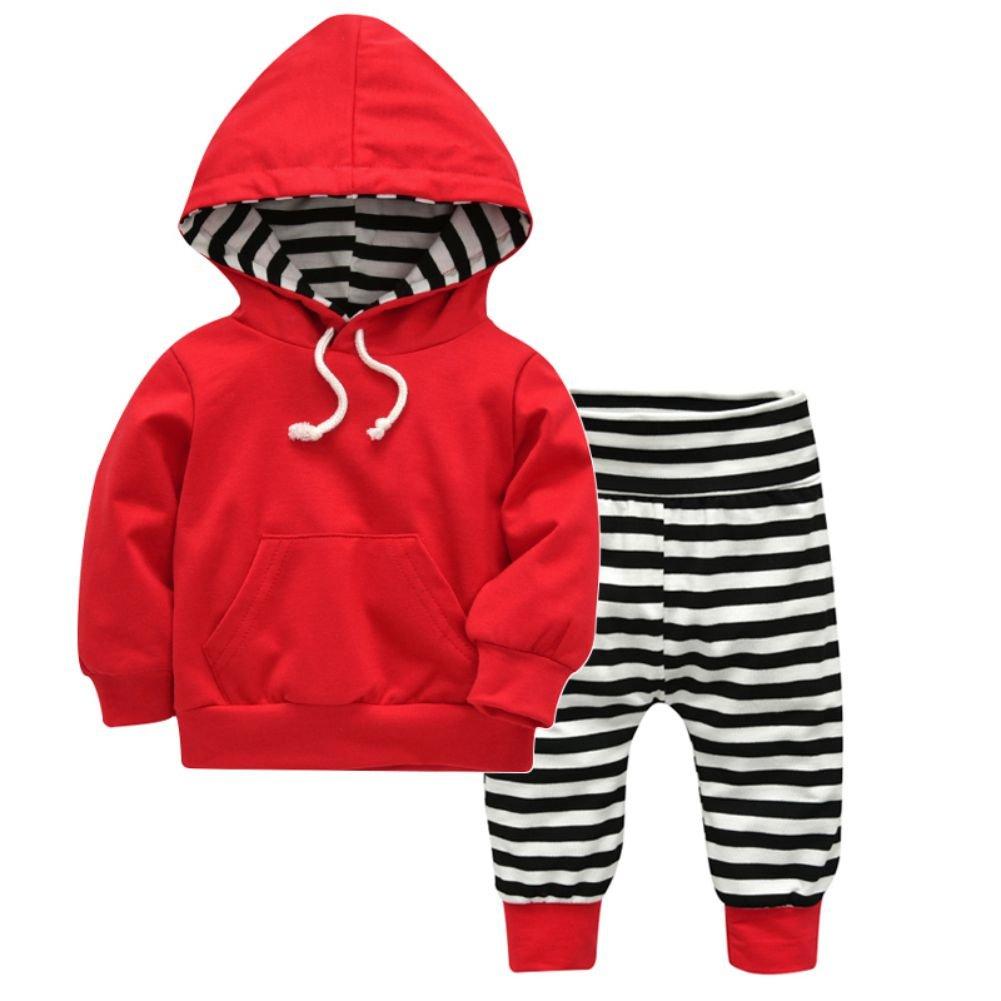 Brightup Insieme della molla dell'autunno del vestito appena nato del bambino neonato felpa rossa + pantaloni a strisce bambini 2 pezzi