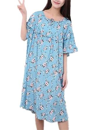3c1995e8c813 Kerlana Donna Premaman Camicia da Notte in 100% Cotone a Maniche Corte  Taglie Forti Abito da Notte Stampa Floreale Bonitas  Amazon.it   Abbigliamento