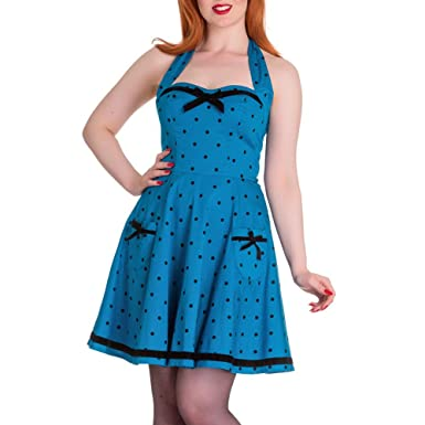 e6c8ec2320d Amazon.com  HELL BUNNY 50s Mini Dress JOLENE Polka Dot Bow ~ Blue ...