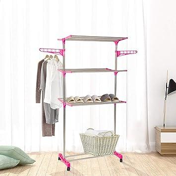 Amazon.com: Dporticus - Perchero de bambú con ruedas y ...