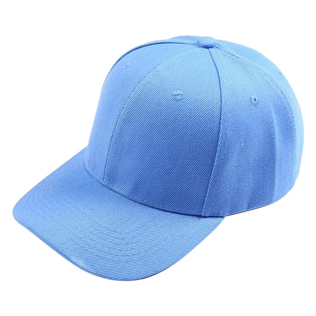 Women Baseball Cap, JOYFEEL Ponytail Messy Solid Color Casual Trucker Hat Plain Outdoor Sport Visor Sun Hat Light Blue