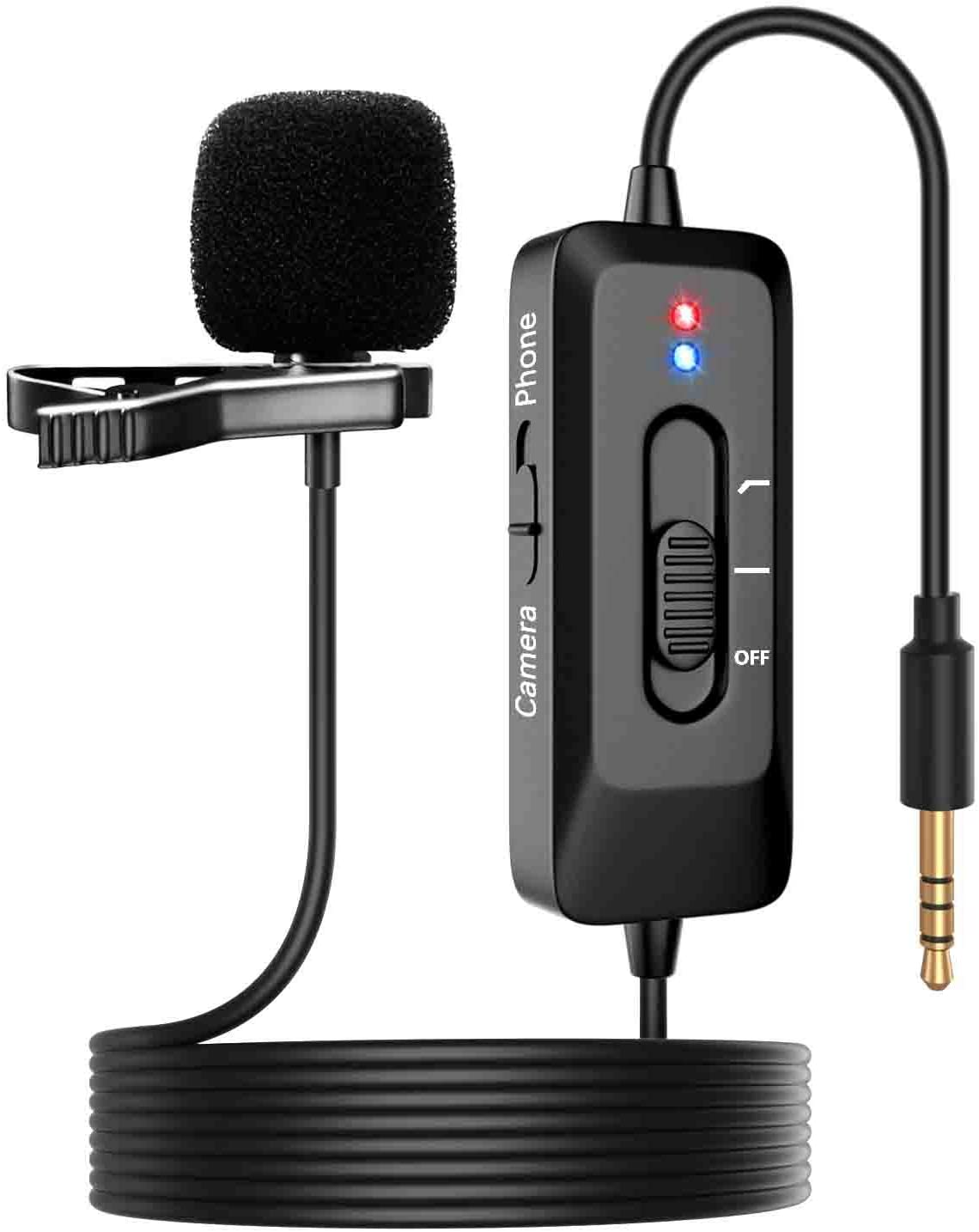 Professional Lavalier Lapel Microphone, NIKOEO Omnidirectional Condenser Clip Mic with Noise Cancellation, USB Charging Cable and 26ft Cord for Phone, Camera, Computer for Recording, Interview, Video